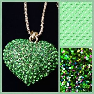 Heart Rhinestone Necklace 💚💚💚